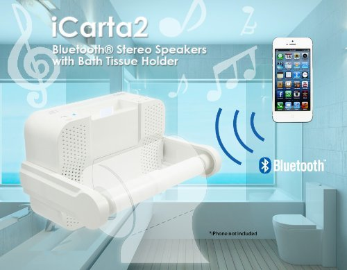 ICarta toilet paper holder 2 Bluetooth stays in the toilet time less boring